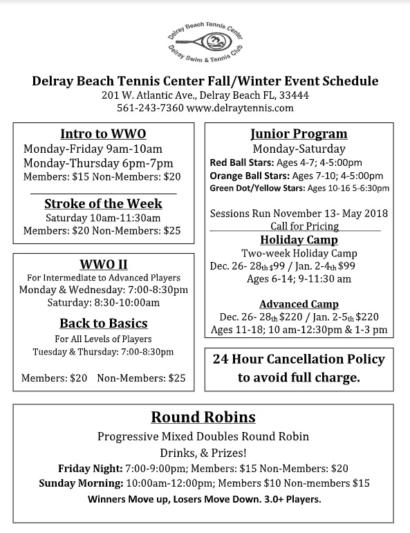 Fall-Winter 2018 Tennis Schedule