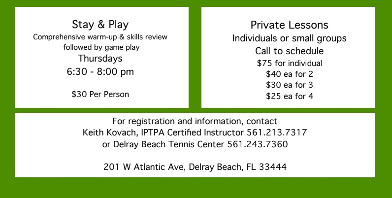 Picleball Lessons at Delray Beach Tennis Center