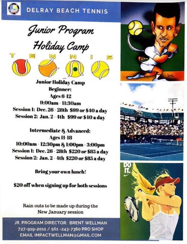 Junior Tennis Program Holiday Camp Delray