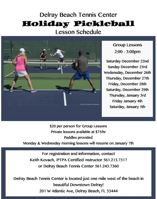 Pickleball Schedule and Lessons