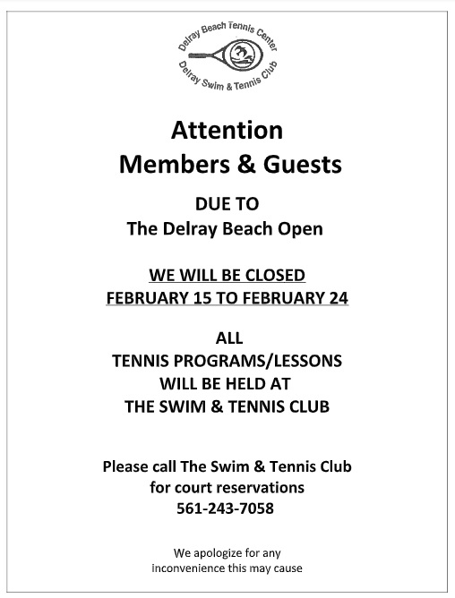 Delray Open Notice