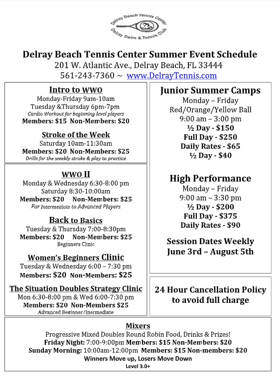 Delray Schedule - Current 2019