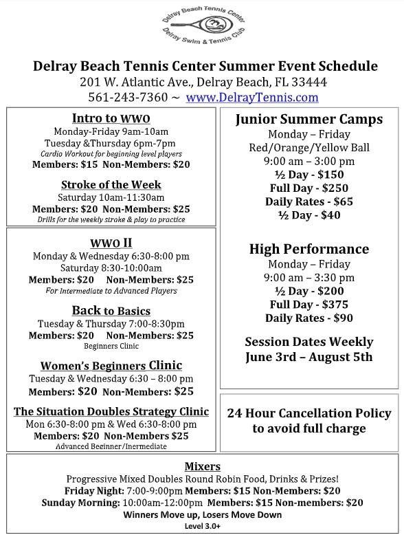 Delray Tennis Schedule