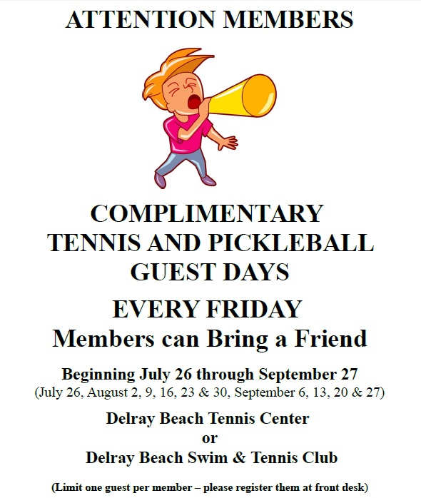 Free Friday Tennis and Pickleball