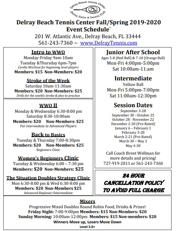 Delray Tennis New Schedule