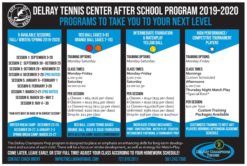 Delray Tennis Junior Program 2019-2020
