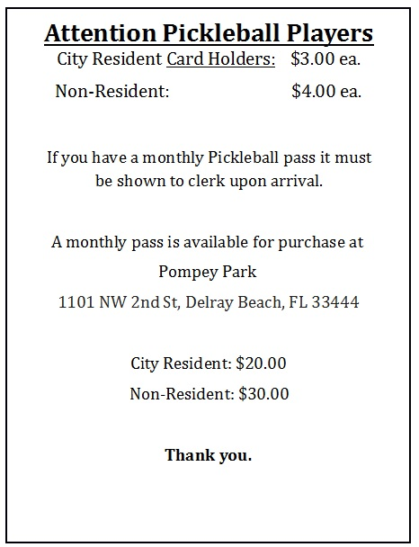 Pickleball Fees