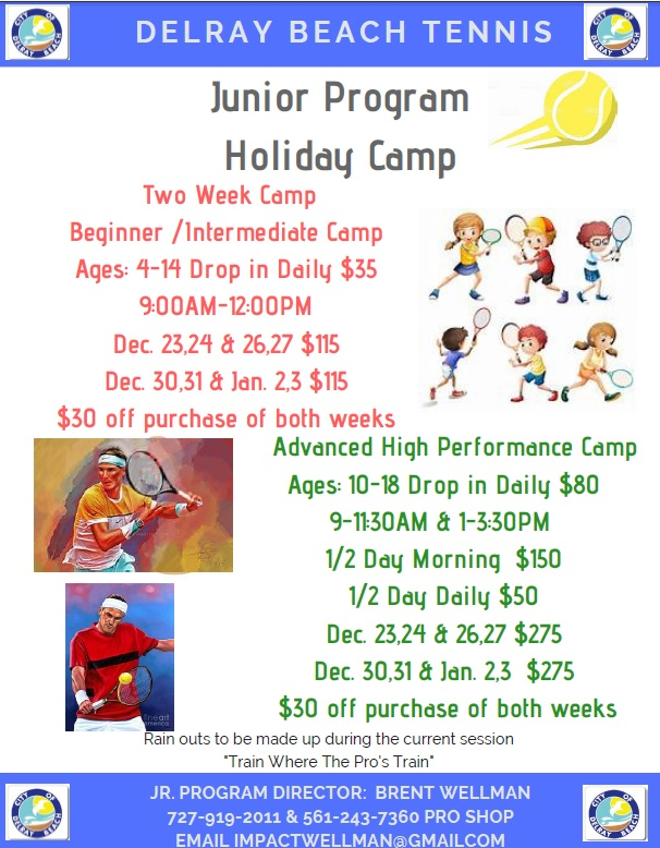Delray Junior Tennis Camp Flyer