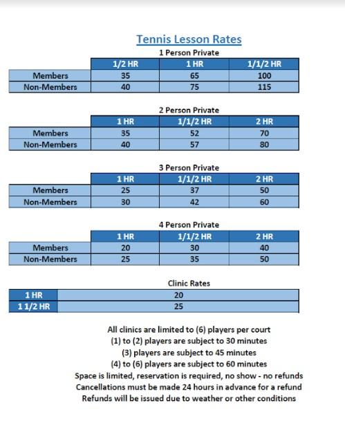 Delray Tennis Rates