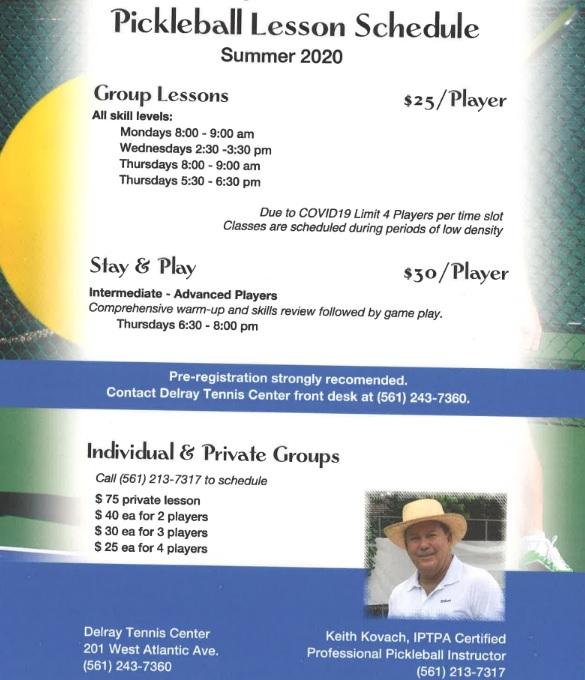 Pickleball Lesson Schedule 2020