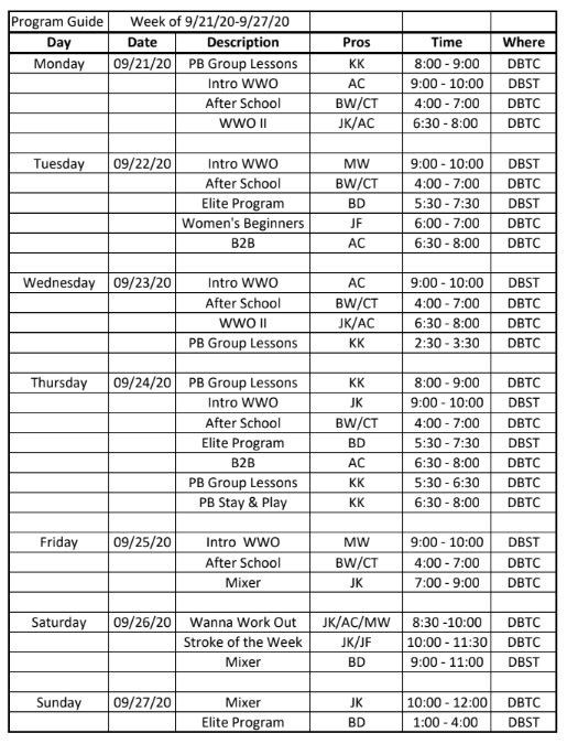Tennis Program Guide