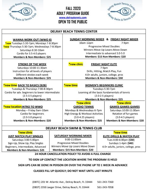 Tennis Schedile Fall 2020