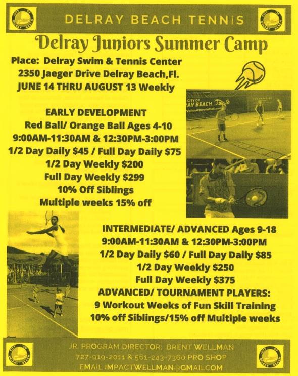 Delray Junior Summer Tennis Camp 2021
